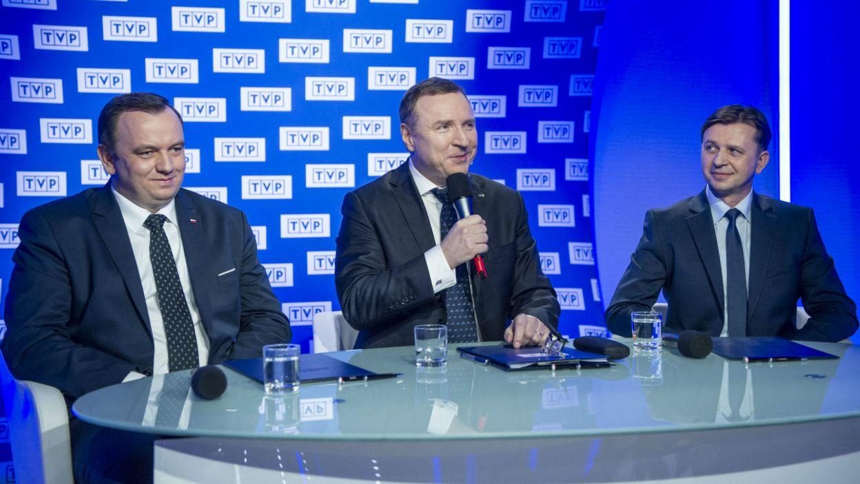 Towarzyszyli mu marszałek województwa śląskiego Jakub Chełstowski oraz Krystian Tomala, zastępca prezydenta Gliwic (fot. N. Młudzik/TVP)