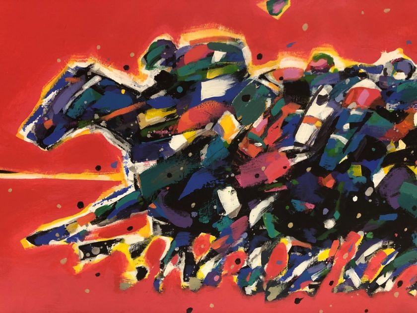 """Bogusław Lustyk, """"Długi wyścig"""" 2020 / akryl, technika mieszana 60x120 cm"""
