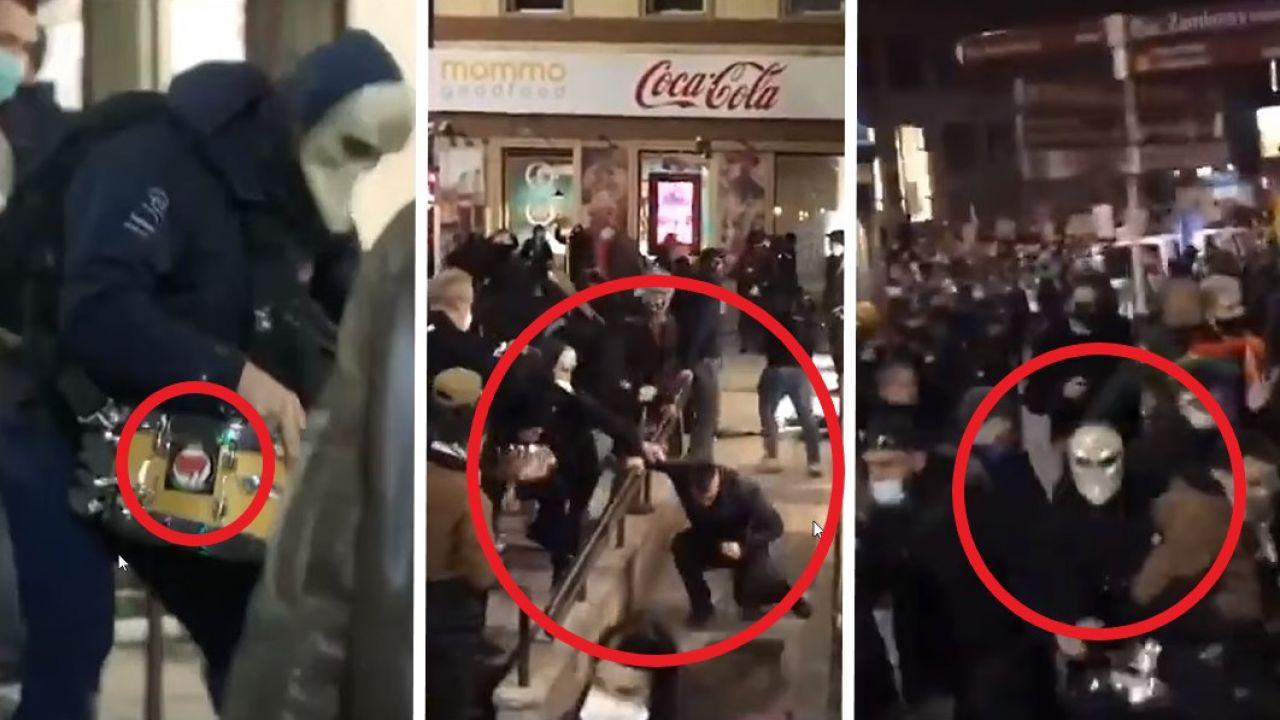 Na nagraniach widać, jak lewicowi ekstremiści wielokrotnie uderzają mężczyznę m.in. pałką teleskopową (fot. TVP; Youtube)