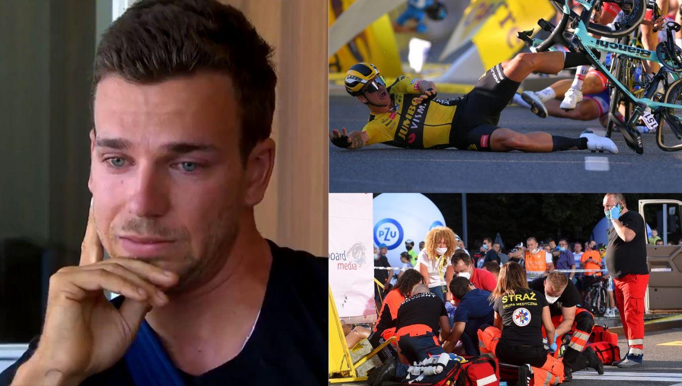 Dylan Groenewegen ze łzami oczach udzielił pierwszego wywiadu po wypadku (fot. Getty/NOS.nl)
