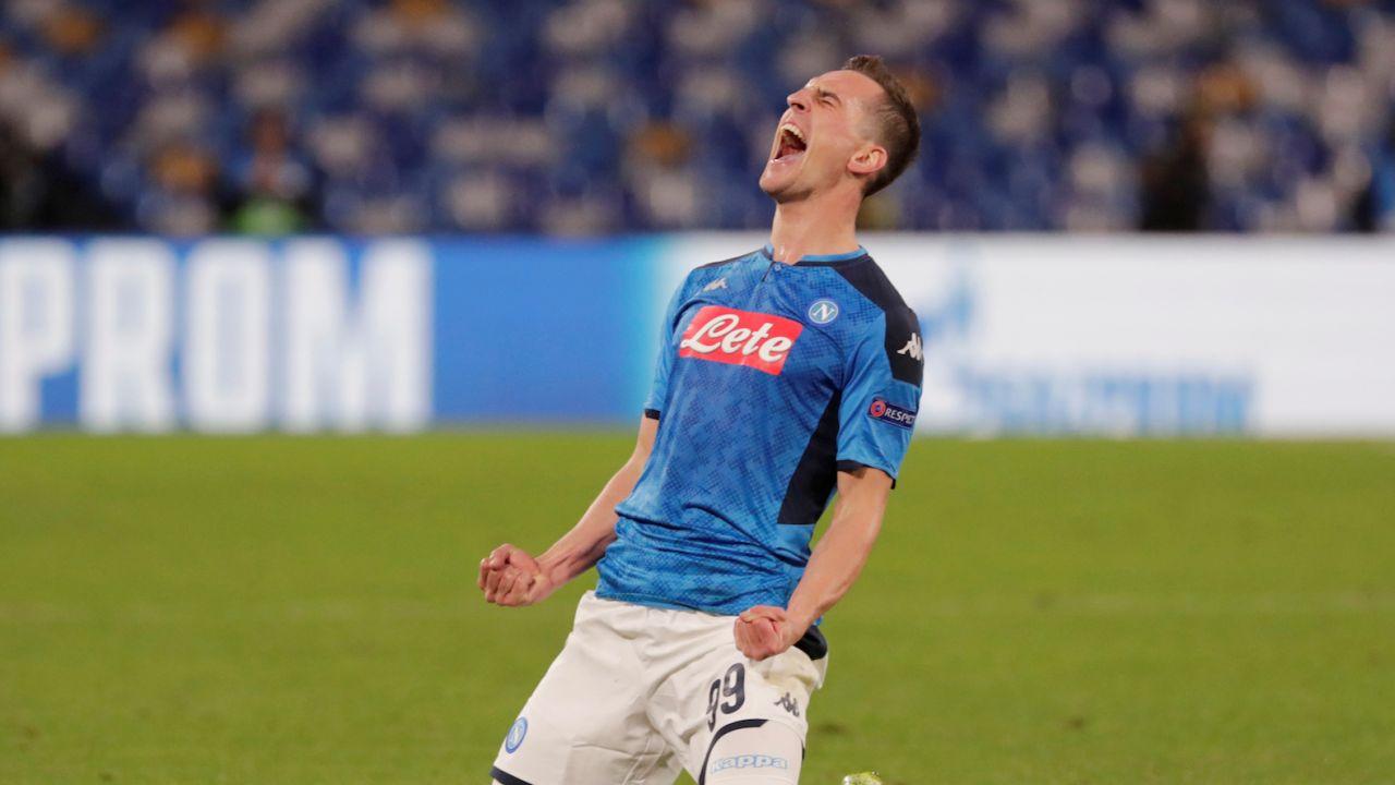 Arkadiusz Milik cieszył sięz gola dla Napoli 48 razy (fot REUTERS/Ciro De Luca)