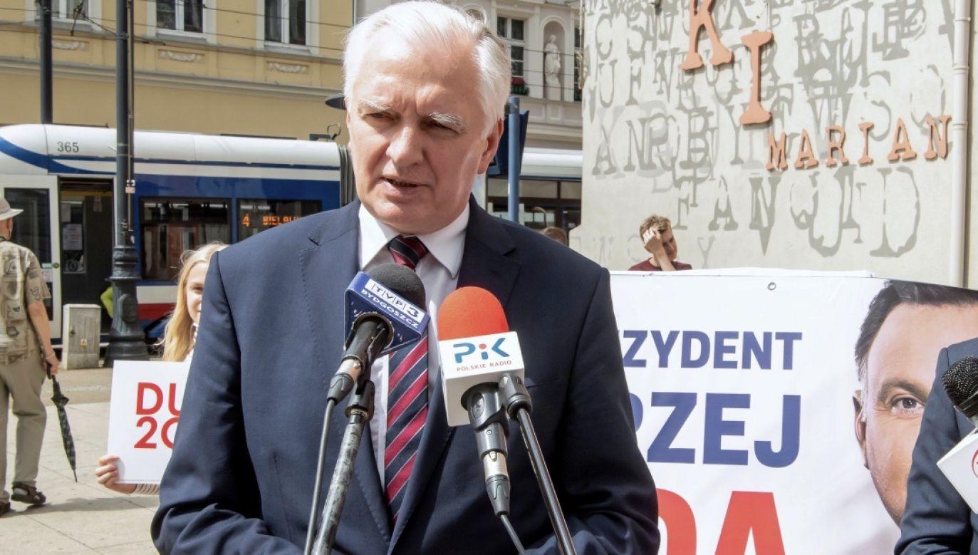Jarosław Gowin zachęca mieszkańców Wielkopolski do głosowania na Andrzeja Dudę w II turze wyborów prezydenckich (fot. PAP/Tytus Żmijewski)