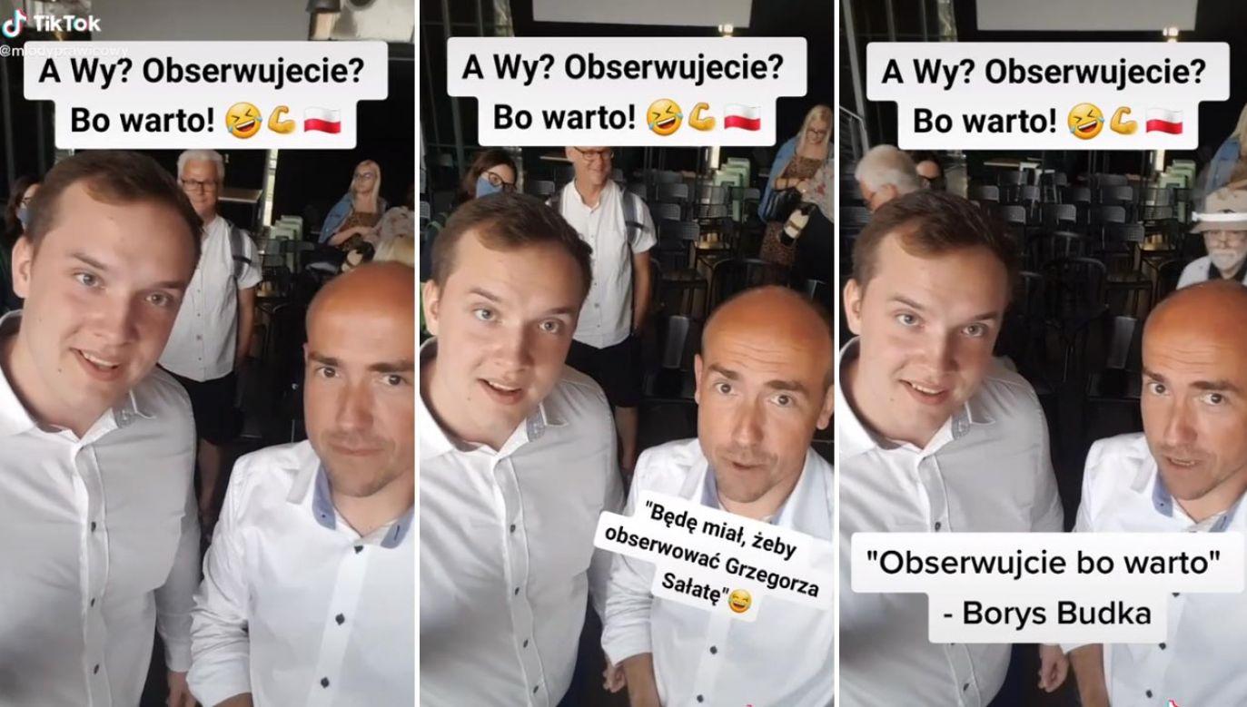 – Jeśli człowiek, z którego ust prawda wylewa się strumieniami, mówi, że masz mnie obserwować, chyba nie odmówisz? – śmieje się Grzegorz Sałata (fot. tiktok.com/mlodyprawicowy)
