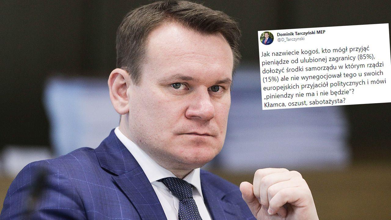 """Dominik Tarczyński przypomniał, że ekipa PO mogła """"przyjąć pieniądze od ulubionej zagranicy"""",  (fot. Forum/Andrzej Hulimka)"""
