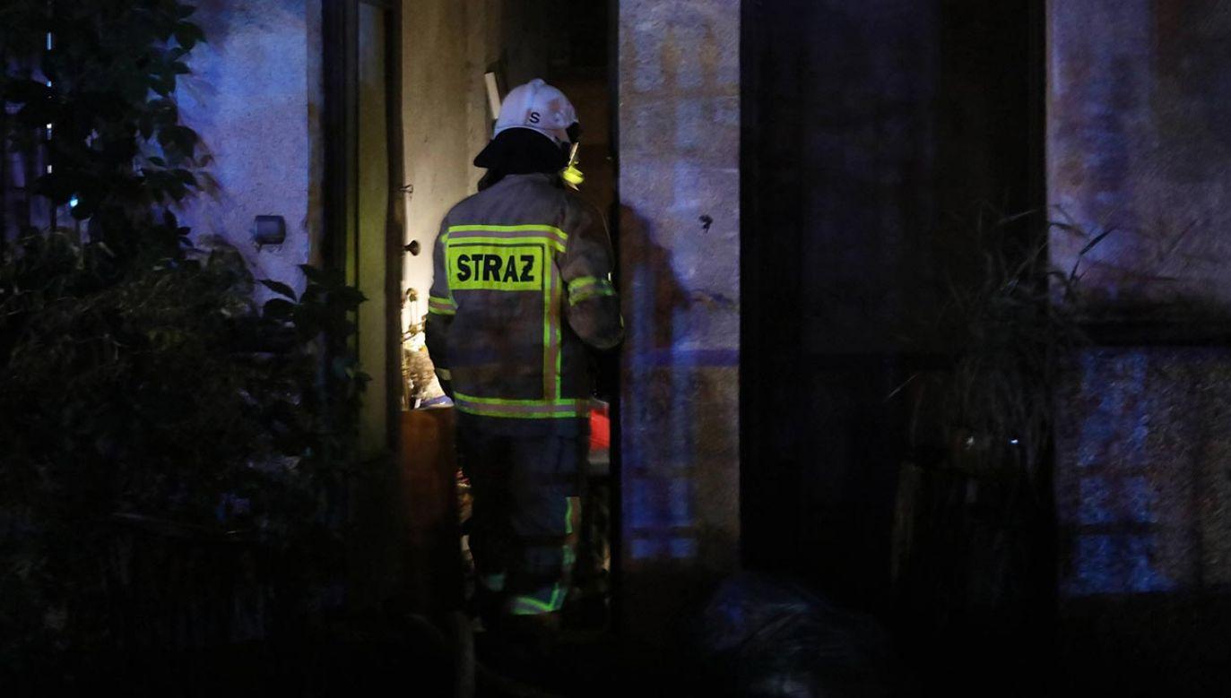 Strażacy rozpoczęli akcję gaśniczą pomimo dużego zadymienia (fot. PAP/Paweł Supernak)