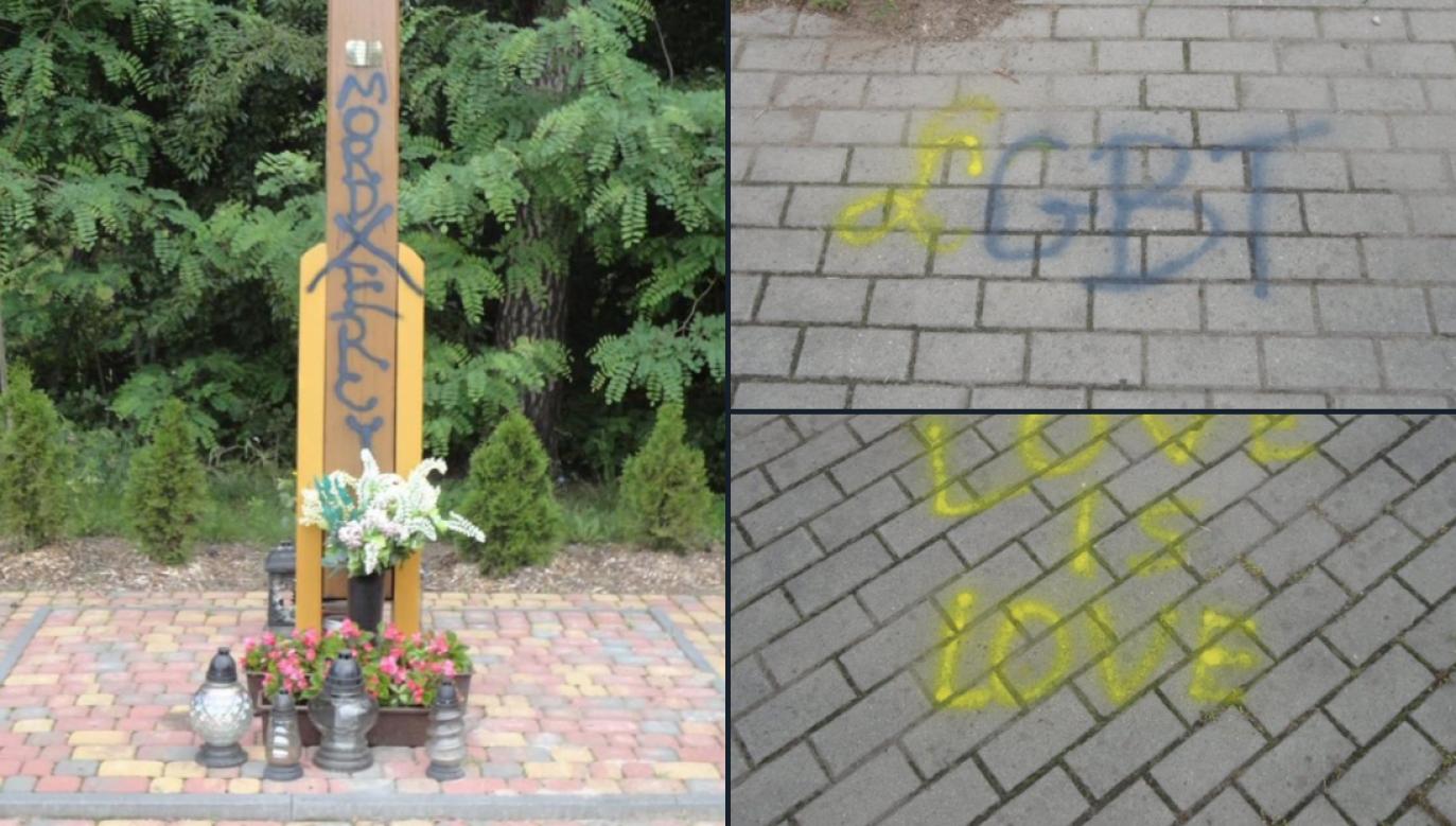 Borówiec. Kto sprofanował przydrożny krzyż i pomazał chodnik (fot. Bartłomiej Wróblewski)