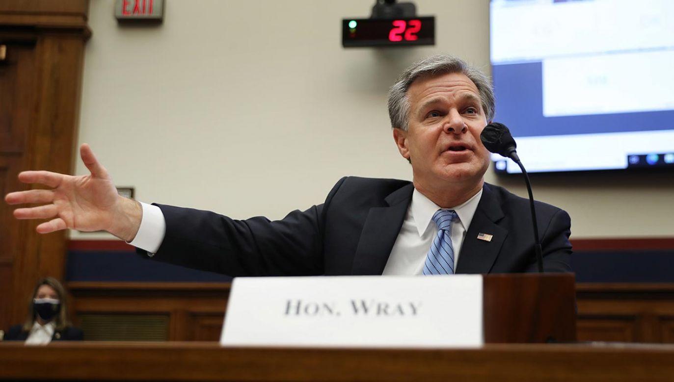 Dyrektor Federalnego Biura Śledczego Christopher Wray  (fot. PAP/EPA/Chip Somodevilla / POOL)
