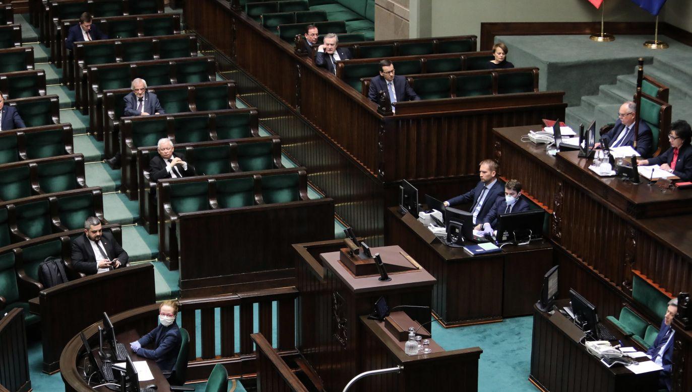 Sejm, the lower house of the Polish parliament, during Monday's session. Photo: PAP/Wojciech Olkuśnik