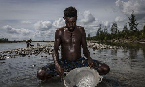 Tinus z plemienia Kamoro poszukujący nielegalnie złota, Zachodnia Papua, 4 lutego 2017. W Papui ulokowano wielką kopalnię tego kruszcu, Grasberg, której właścicielem jest Freeport McMoRan. Według doniesień, codziennie do rzeki Aikwa trafia aż 200 000 ton odpadów kopalnianych, zamieniając tysiące hektarów lasów i namorzyn w pustkowia. Rdzenne plemiona wciąż próbują utrzymać się z rybołówstwa i twierdzą, że kopalnia podniosi koryto rzeki, dusząc ryby, ostrygi i krewetki. Fot. Ulet Ifansasti / Getty Images