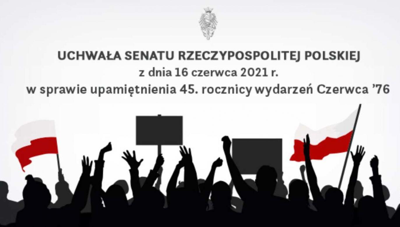 Senat upamiętnił 45. rocznicę wydarzeń Czerwca '76 (fot. Twitter/Kancelaria Senatu)