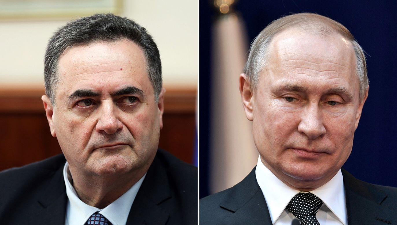 Israel Katz i Władimir Putin – obaj politycy zasłynęli w ostatnim czasie antypolskimi wypowiedziami (fot. arch. PA/EPA/ABIR SULTAN/POOL; Alexei Nikolsky\TASS via Getty Images)