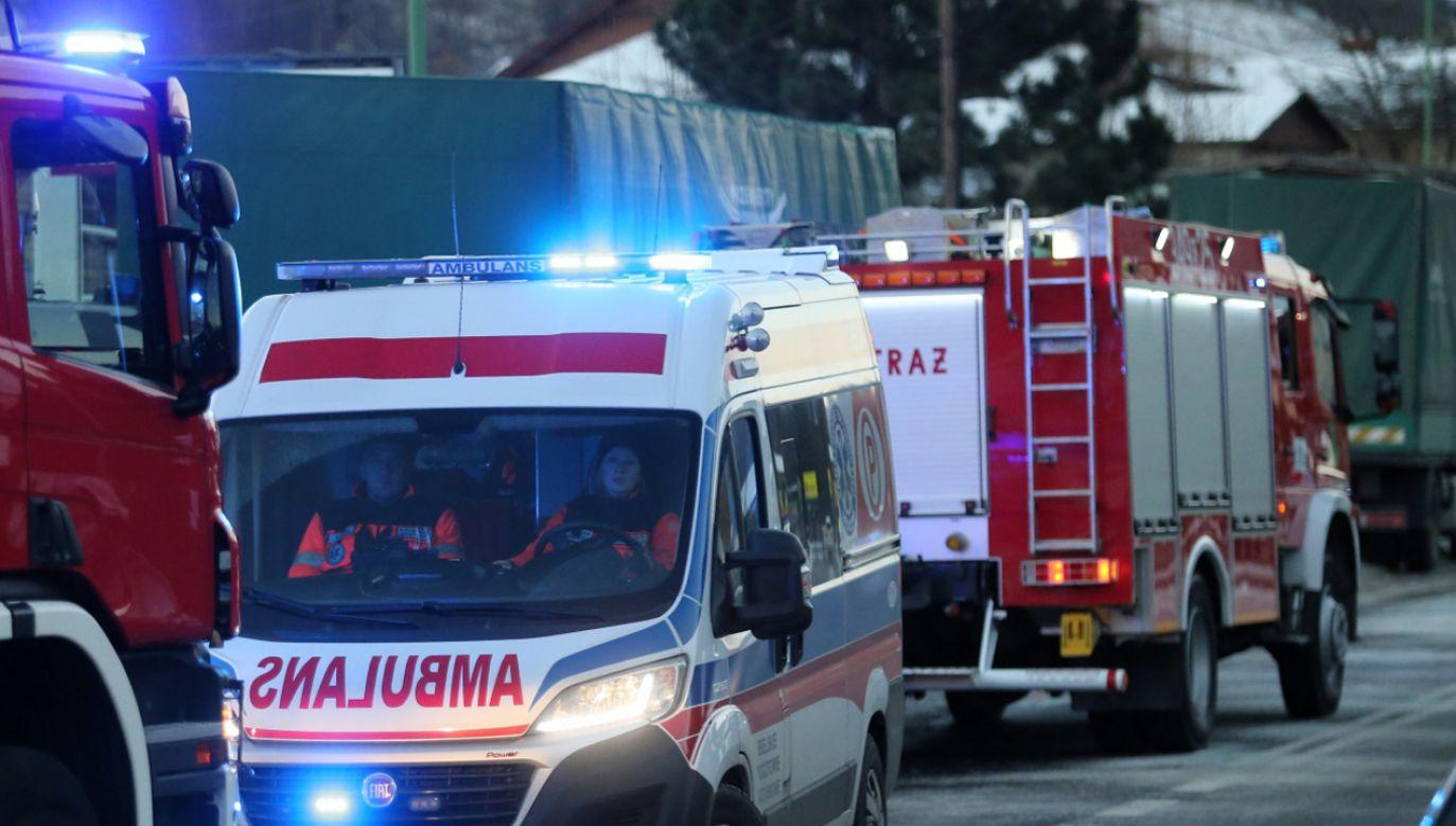 Pożar gasiło 11 zastępów straży pożarnej  (fot.  PAP/Andrzej Grygiel)