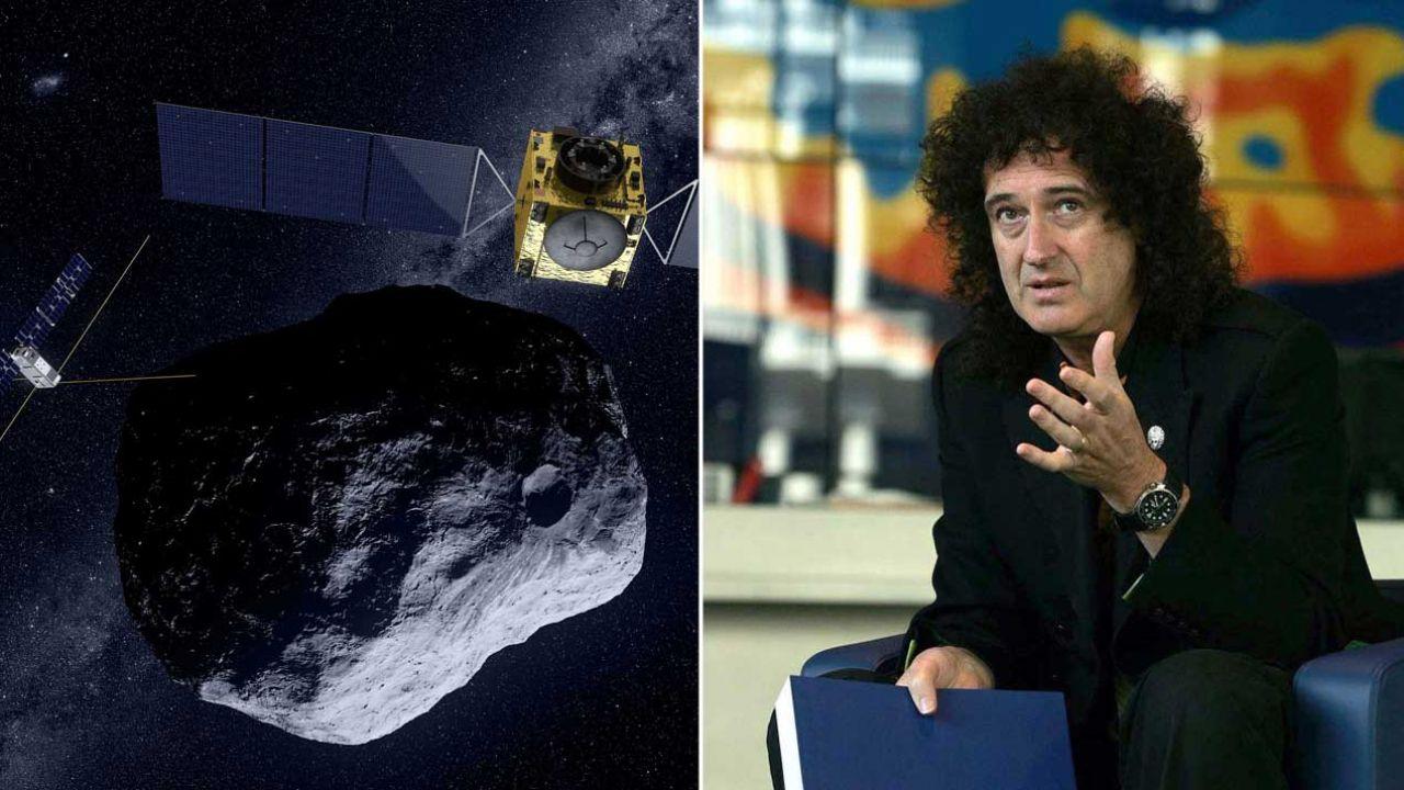 Asteroida Didymos na wizualizacji ESA. Asteroidę bada Brian May (fot. ESA;  Cathal McNaughton - PA Images/PA Images via Getty Images)