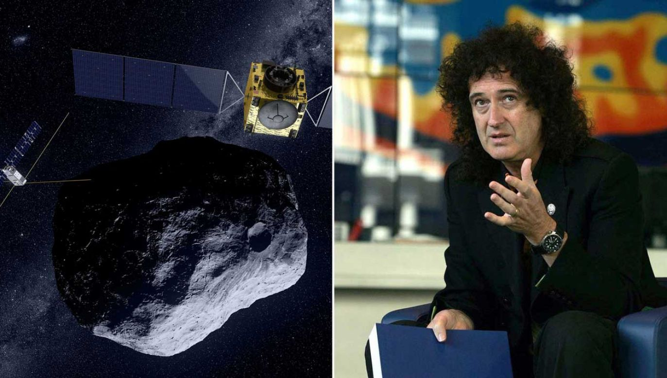 Asteroida Didymos na wizualizacji ESA. Asteroidę bada Brian May (fot. ESA;  Cathal McNaughton - PA Images/PA Images via Getty Images)