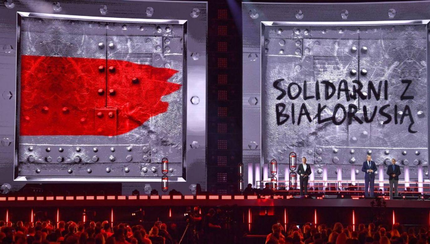 """Koncert """"Solidarni z Białorusią """" na PGE Narodowym w Warszawie (fot. PAP/Radek Pietruszka)"""