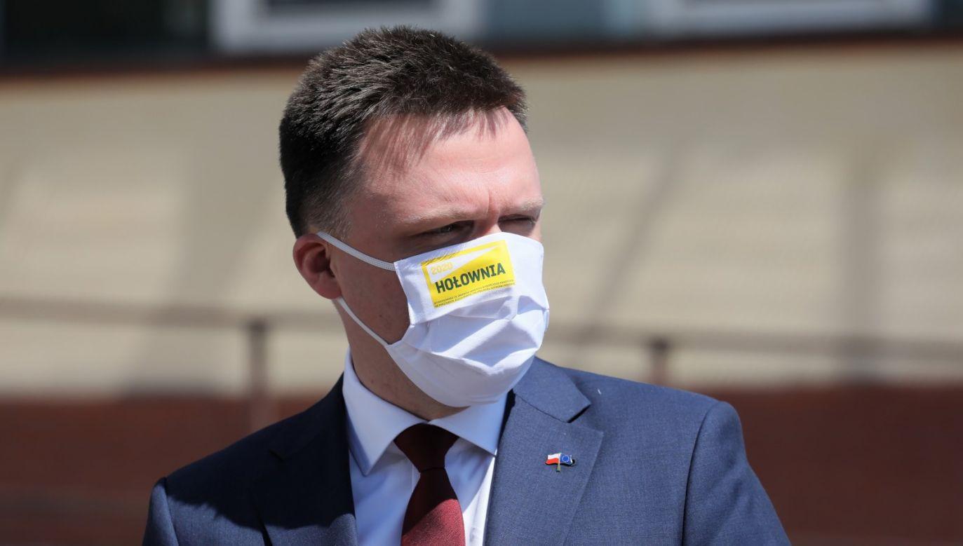 Hołownia: e pieniądze to zmarnowane pieniądze, to skaleczona polska przyroda, na której też można by było zarabiać pieniądze żyjąc w tamtym miejscu (fot. PAP/Paweł Supernak)