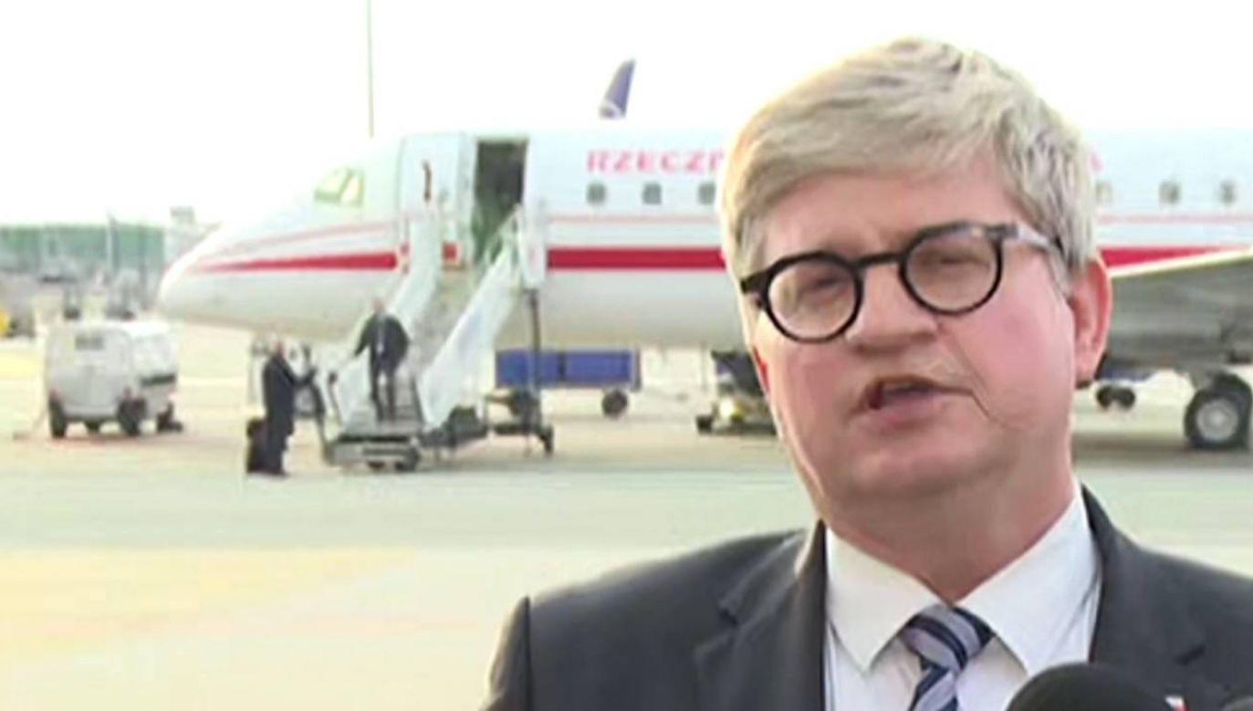 Konferencja prasowa szefa BBN odbyła się po powrocie prezydenta z Litwy (fot. TVP)