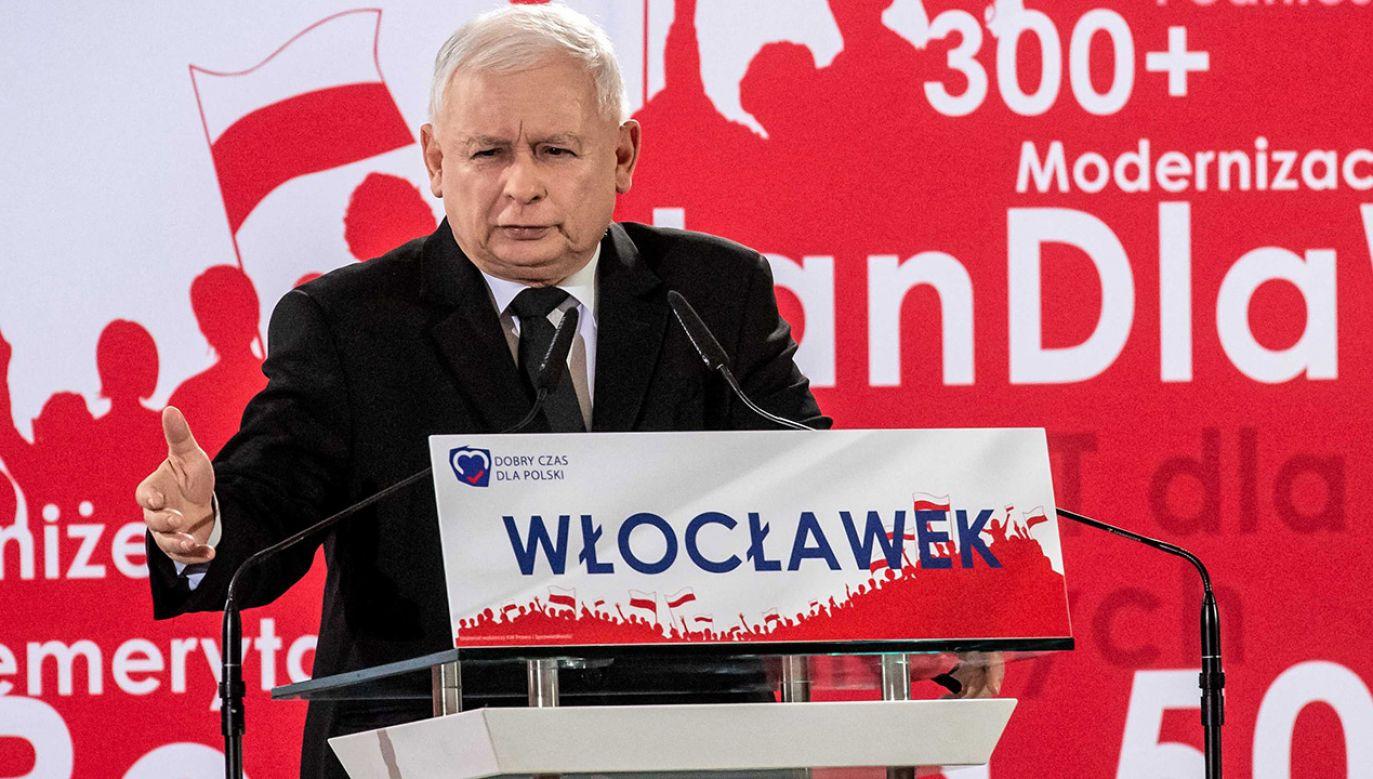 Prezes PiS wziął udział w konwencji regionalnej partii we Włocławku (fot.  PAP/Tytus Żmijewski)