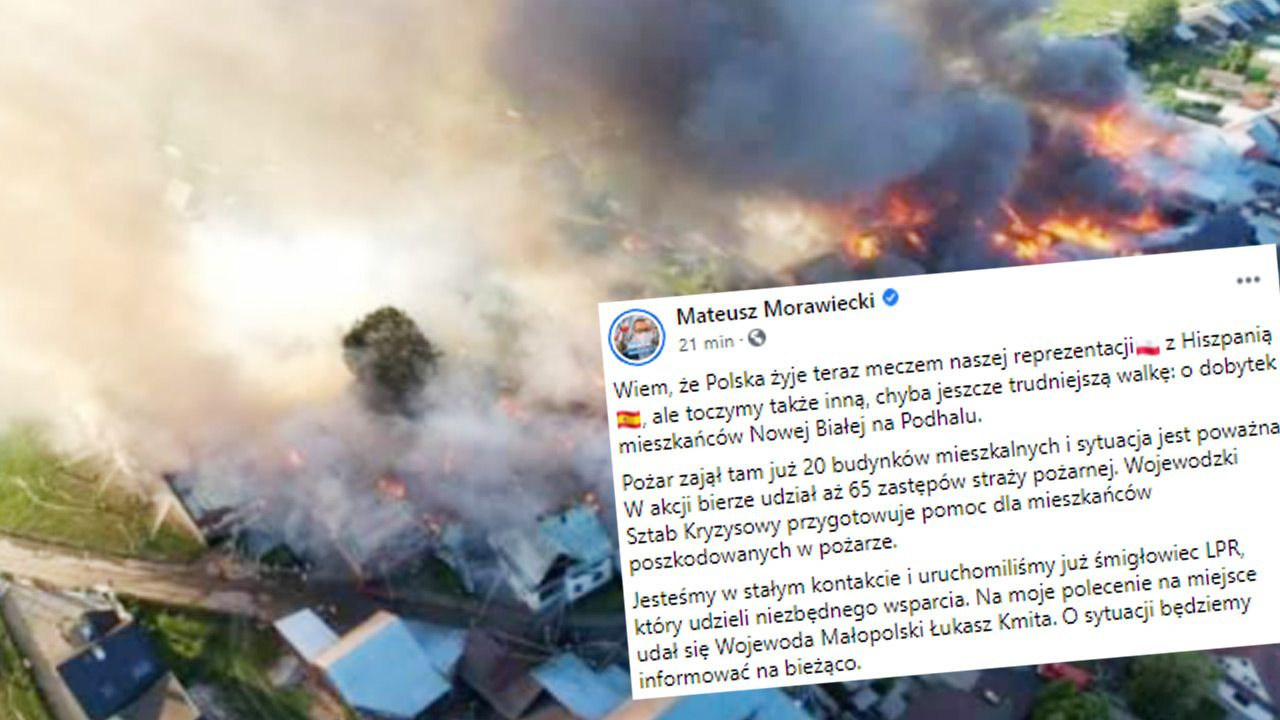 W akcji bierze udział aż 65 zastępów straży pożarnej (fot. Facebook/Mateusz Morawiecki)