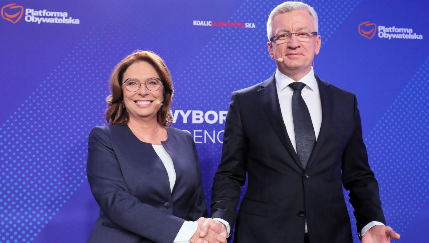 Zdaniem Artura Wróblewskiego, Jaśkowiak i Kidawa-Błońska jedynie występują w przedstawieniu lidera PO (fot. PAP/Paweł Supernak)