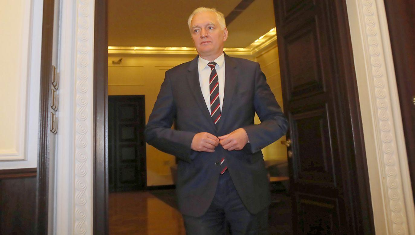 Jarosław Gowin: Gramy do jednej bramki (fot. PAP/Wojciech Olkuśnik)