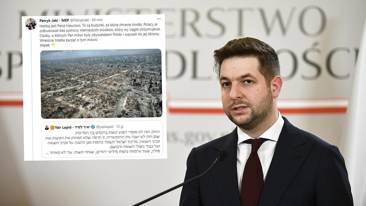 Patryk Jaki odpowiada ministrowi Izraela (fot. PAP/Marcin Obara)