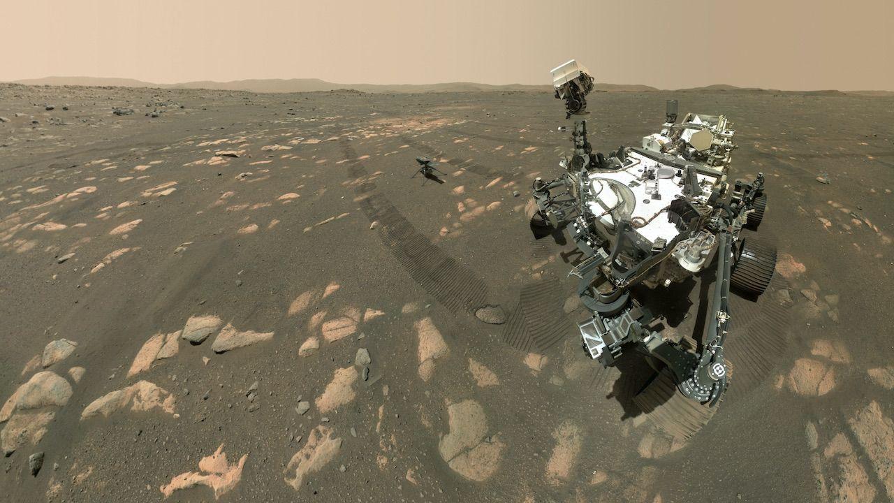 Łazik Perseverance na Marsie (fot. PAP/EPA/NASA/JPL-Caltech/MSSS)
