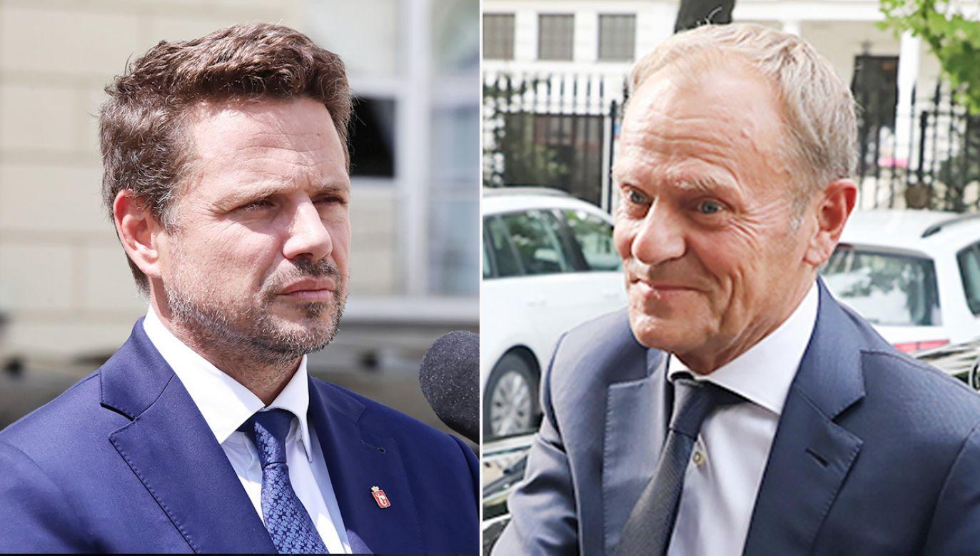 Rafał Trzaskowski i Donald Tusk (fot. PAP/Tomasz Gzell)