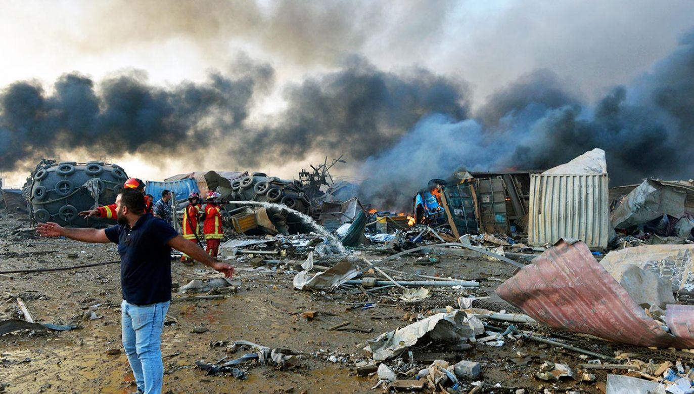 W wybuchu zginęło ponad 100 osób, 4 tys. zostało rannych (fot. PAP/EPA/WAEL HAMZEH)