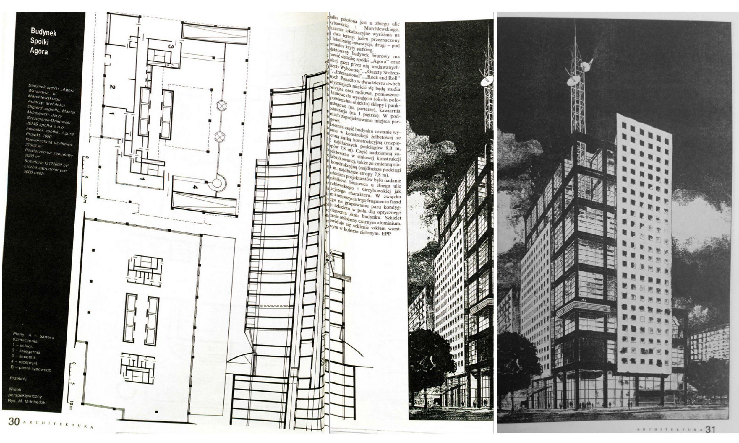 "Projekt budynku ""Agory"", czasopismo ""Architektura"" Nr 1 1990/1991"