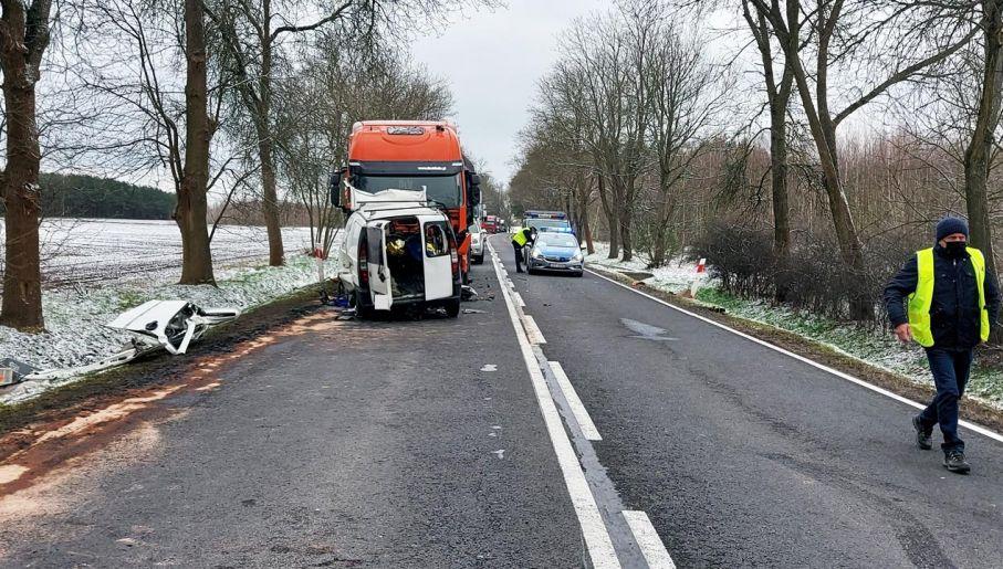 Droga była zablokowana (fot. Policja)
