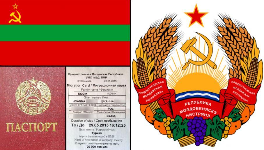 """Od lewej: flaga Naddniestrza, poniżej naddniestrzański paszport i """"wiza"""". Po prawej godło państwa"""