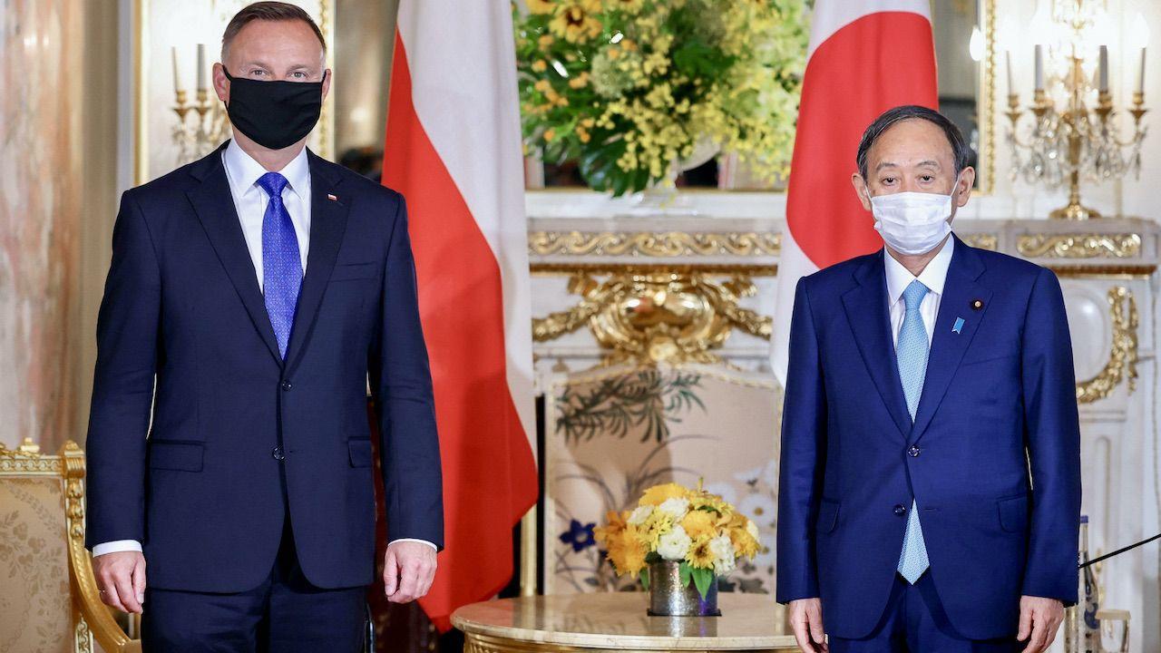 Prezydent Andrzej Duda spotkał się z premierem Japonii Yoshihide Sugą. (fot. PAP/KPRP/Jakub Szymczuk)
