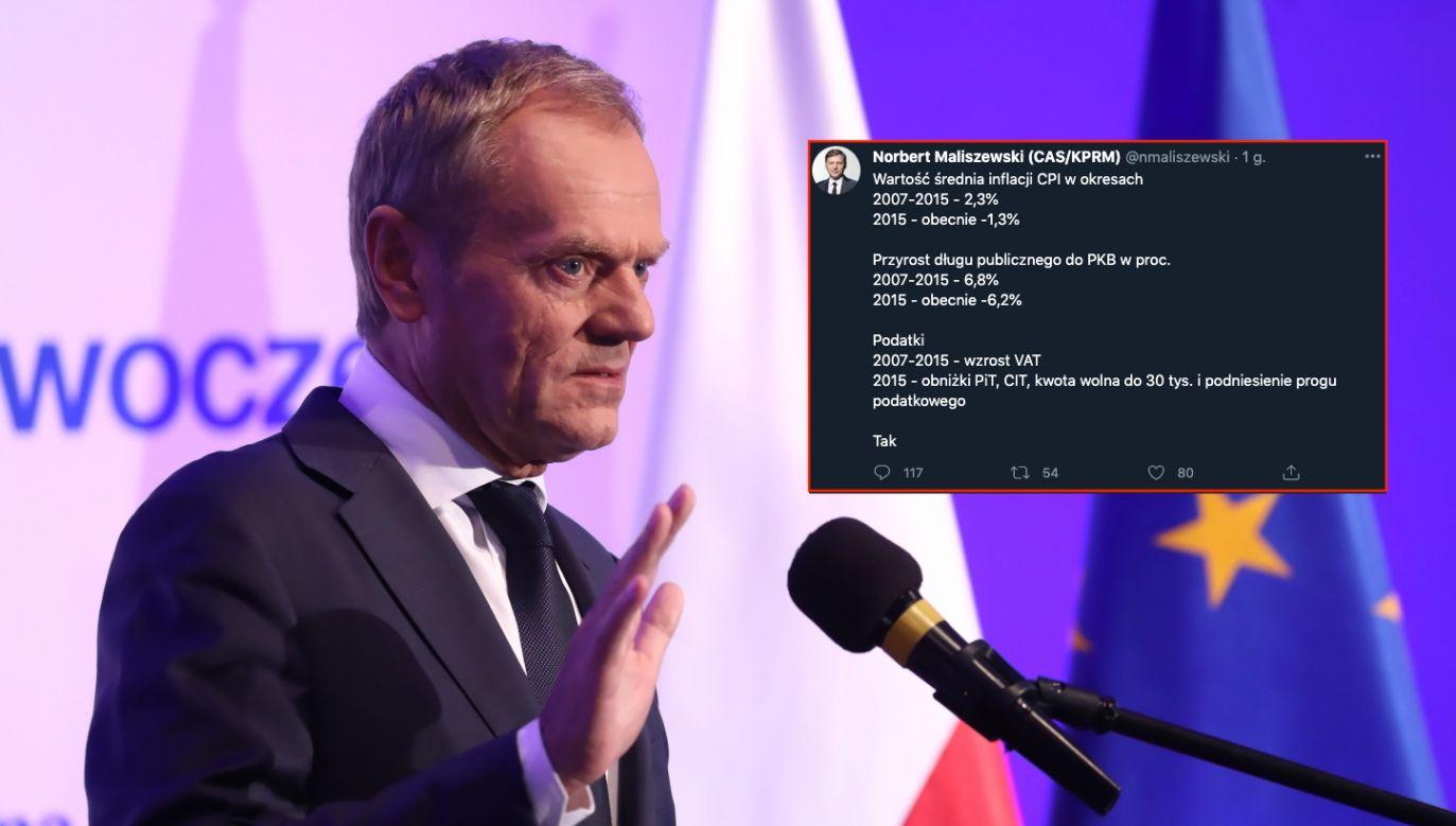 Pełniący obowiązki przewodniczącego Platformy Obywatelskiej Donald Tusk (fot. PAP/Tomasz Gzell, Twitter.com)