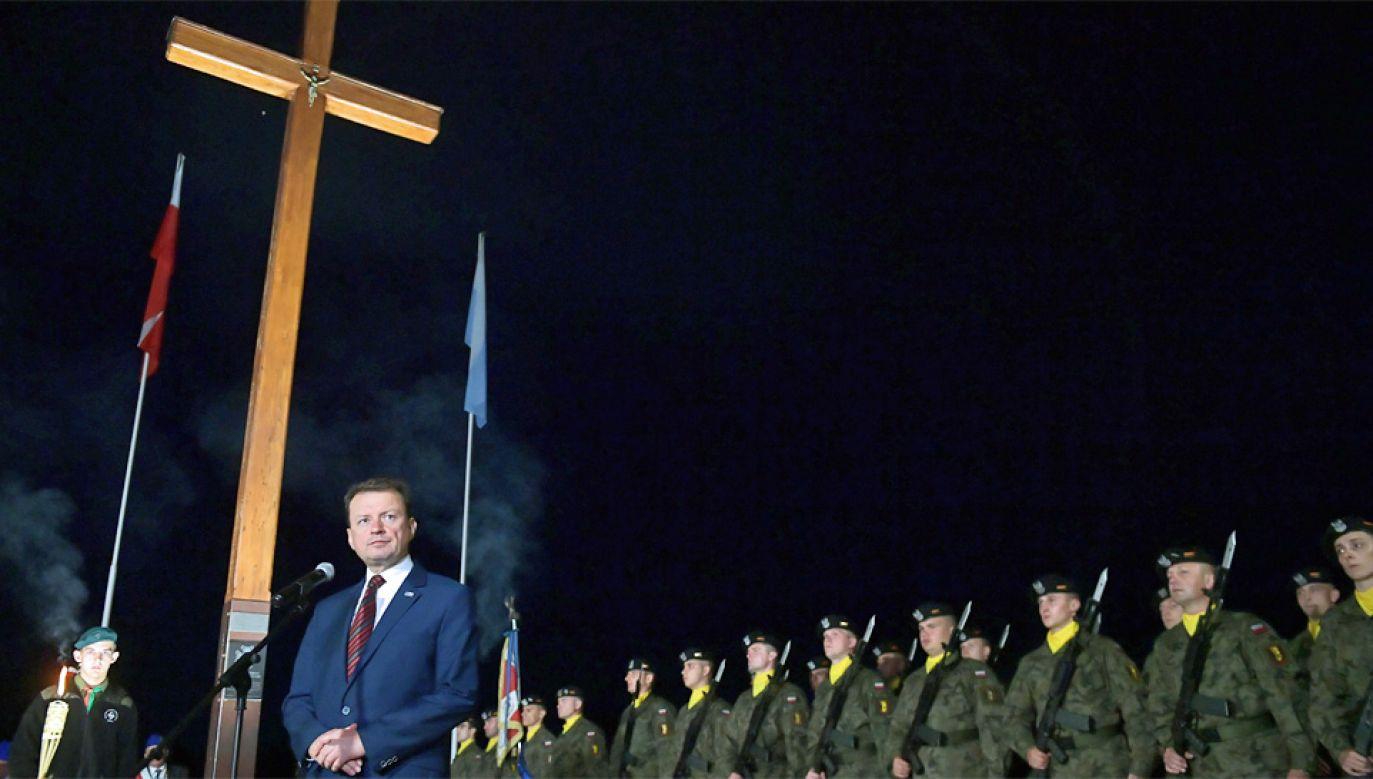 Szef MON Mariusz Błaszczak wskazał, że Bitwa Warszawska powstrzymała bolszewicką nawałę (fot. PAP/Marcin Obara)