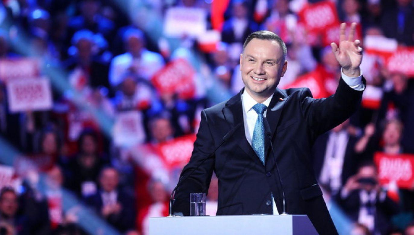 Prezydent Andrzej Duda przemawia podczas konwencji wyborczej w Warszawie (fot. PAP/Rafał Guz)