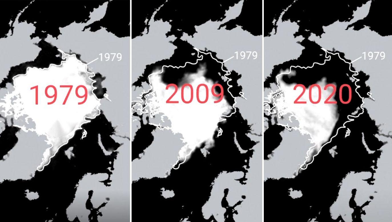 Europejska Unia Nadawców przygotowała animację ukazującą zmiany pokrywy lodowej w Arktyce od 1979 do 2020 roku (fot. EBU)