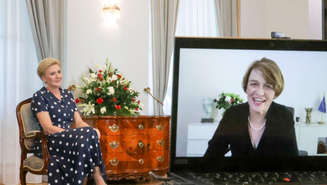 Agata Kornhauser-Duda i Elke Buedenbender (fot. Grzegorz Jakubowski/KPRP)