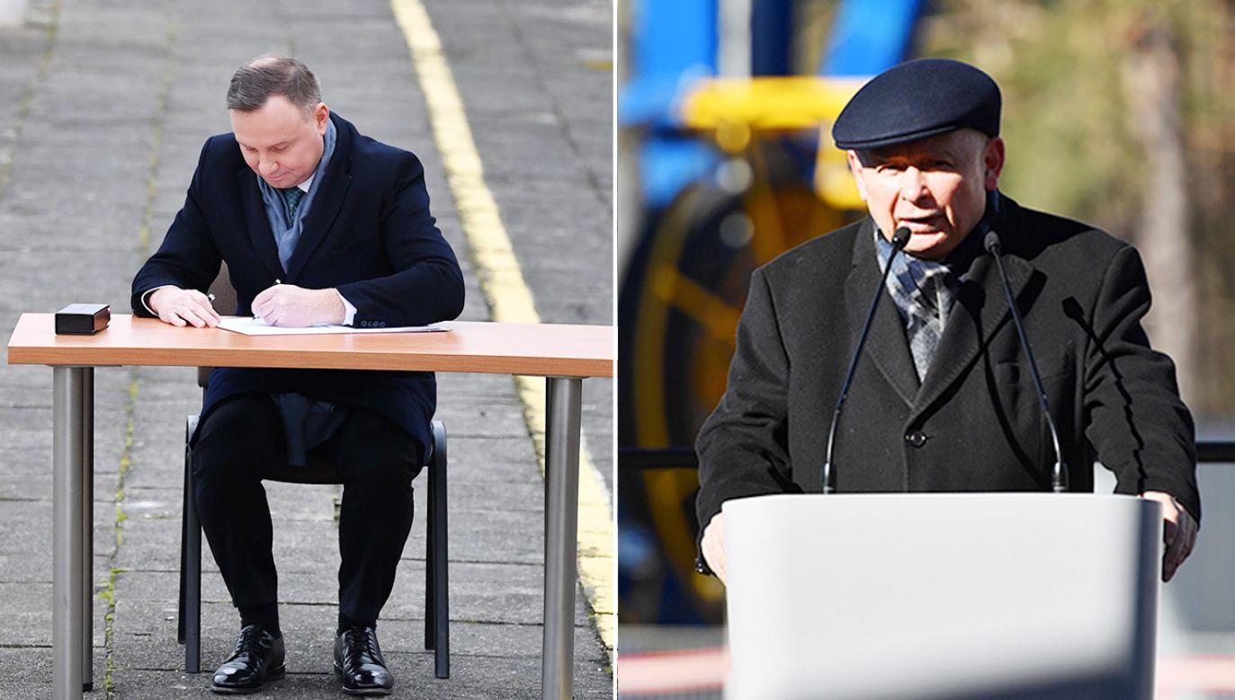 Andrzej Duda, Jarosław Kaczyński (fot. PAP/Piotr Polak; Marcin Bielecki)