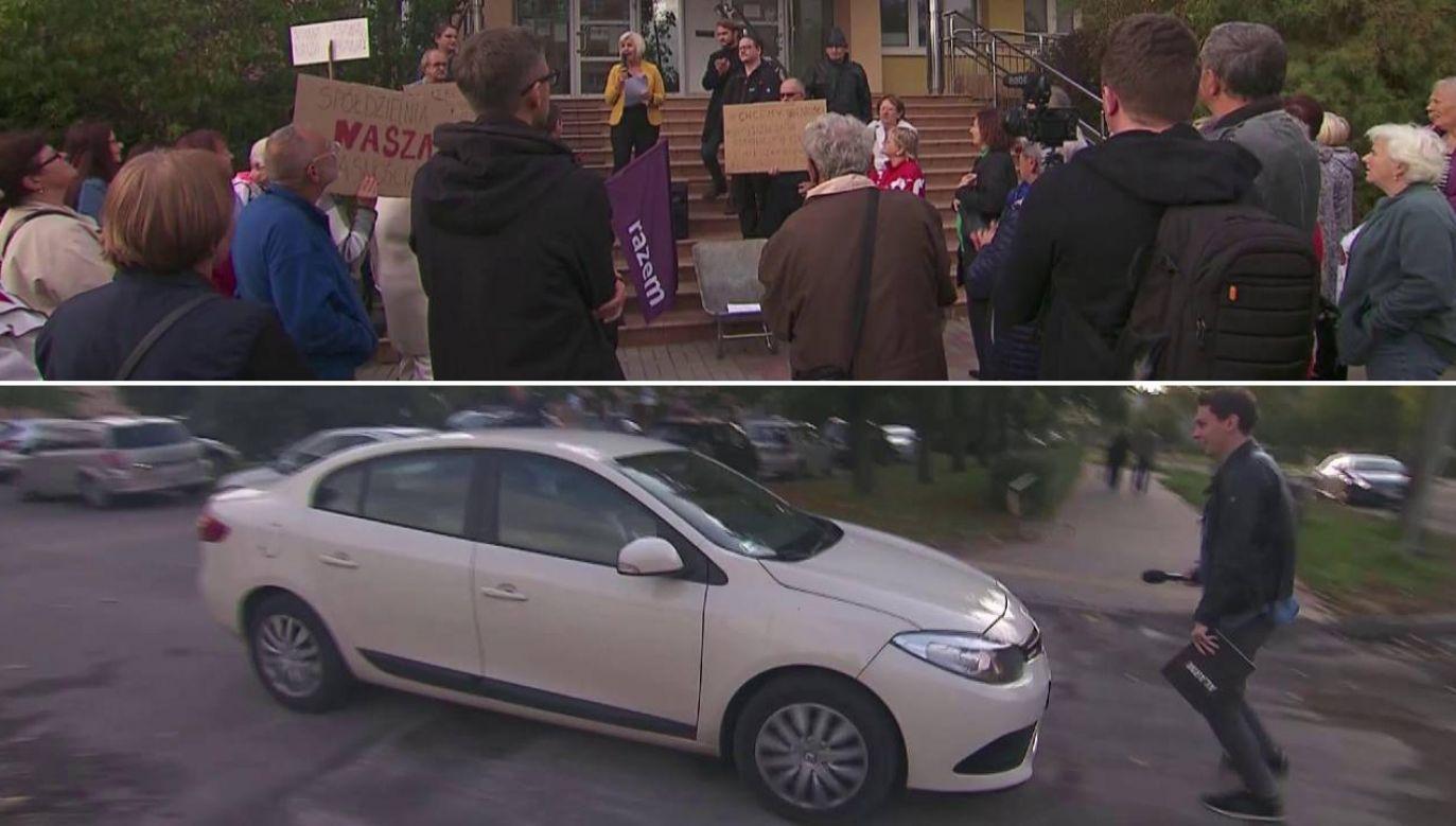 """Prezes """"Jaroty"""" Roman Przedwojski prawie przejechał reportera reportera programu """"Alarm!"""" (fot. TVP1)"""