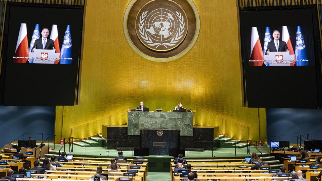 Tegoroczny szczyt ONZ zorganizowano w formule zdalnej (fot. PAP/EPA/Rick Bajornas/UN PHOTO HANDOUT)