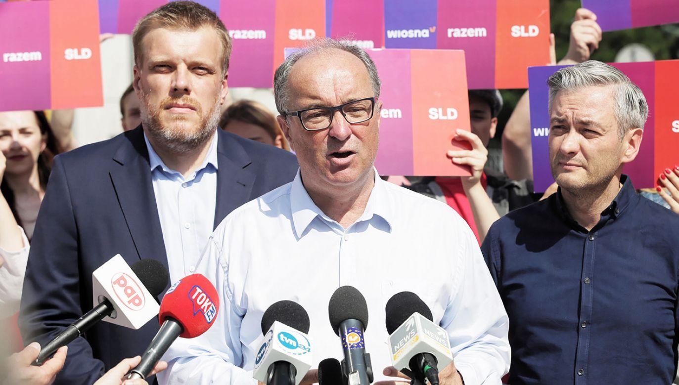 Liderzy trzech ugrupowań: SLD, Wiosny i Lewicy Razem potwierdzili w ubiegły piątek zamiar budowy bloku przed jesiennymi wyborami do Sejmu i Senatu (fot. PAP/Marcin Obara)