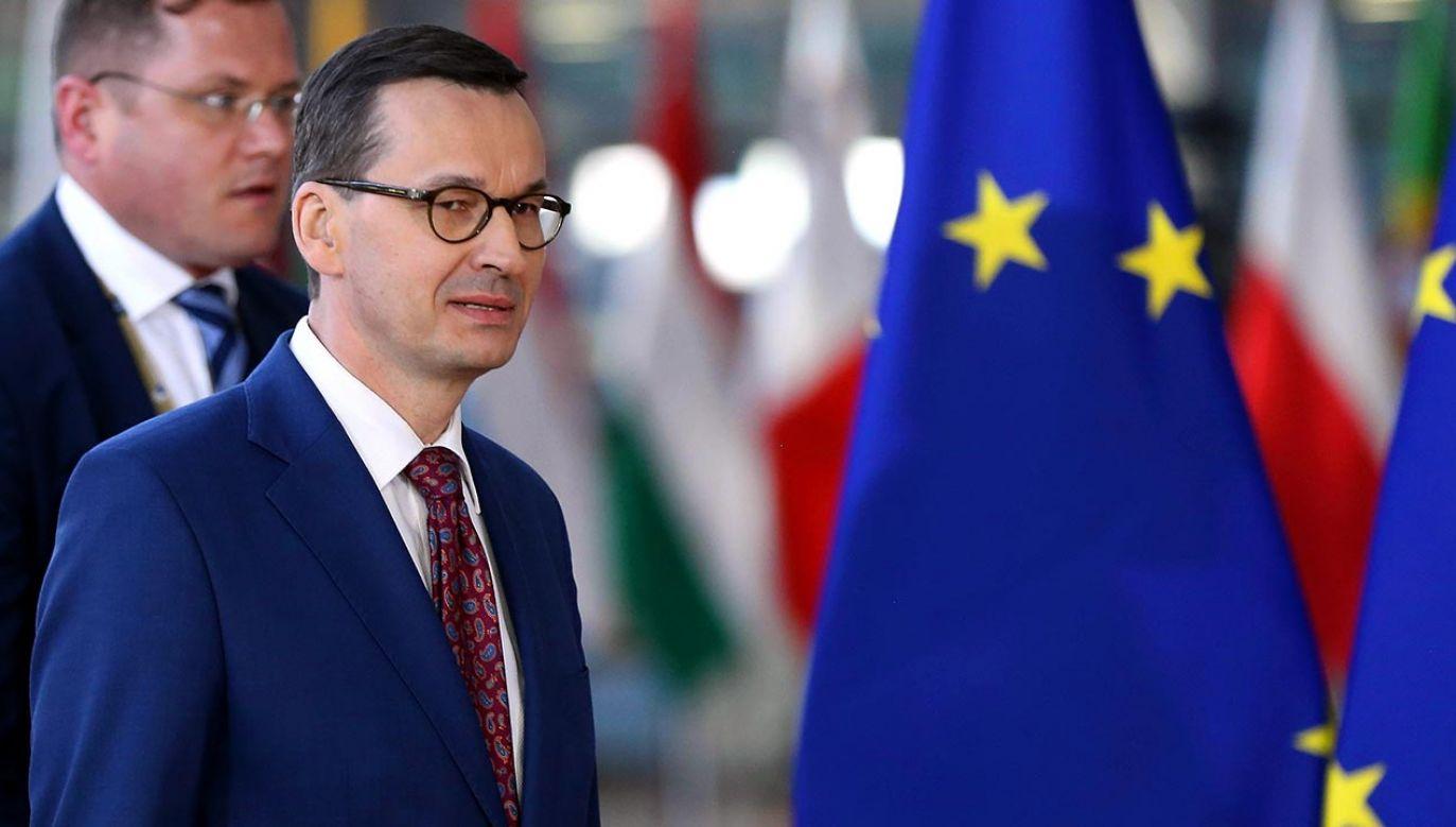 Premier  mówił o powodach sprzeciwu Polski wobec unijnego rozporządzenia dot. powiązania dostępu do środków unijnych z kwestią praworządności (fot. Dursun Aydemir/Anadolu Agency/Getty Images)