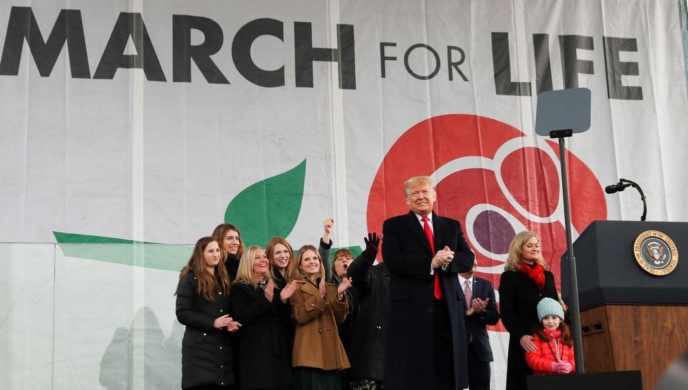 Prezydent Donald Trump wziął udział w 47. Marszu dla Życia w Waszyngtonie (fot. REUTERS/Leah Millis)