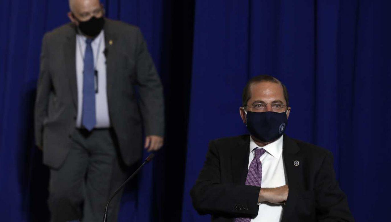 Szef Departamentu Zdrowia i Opieki Społecznej Stanów Zjednoczonych Alex Azar (fot. PAP/EPA/YURI GRIPAS / POOL)