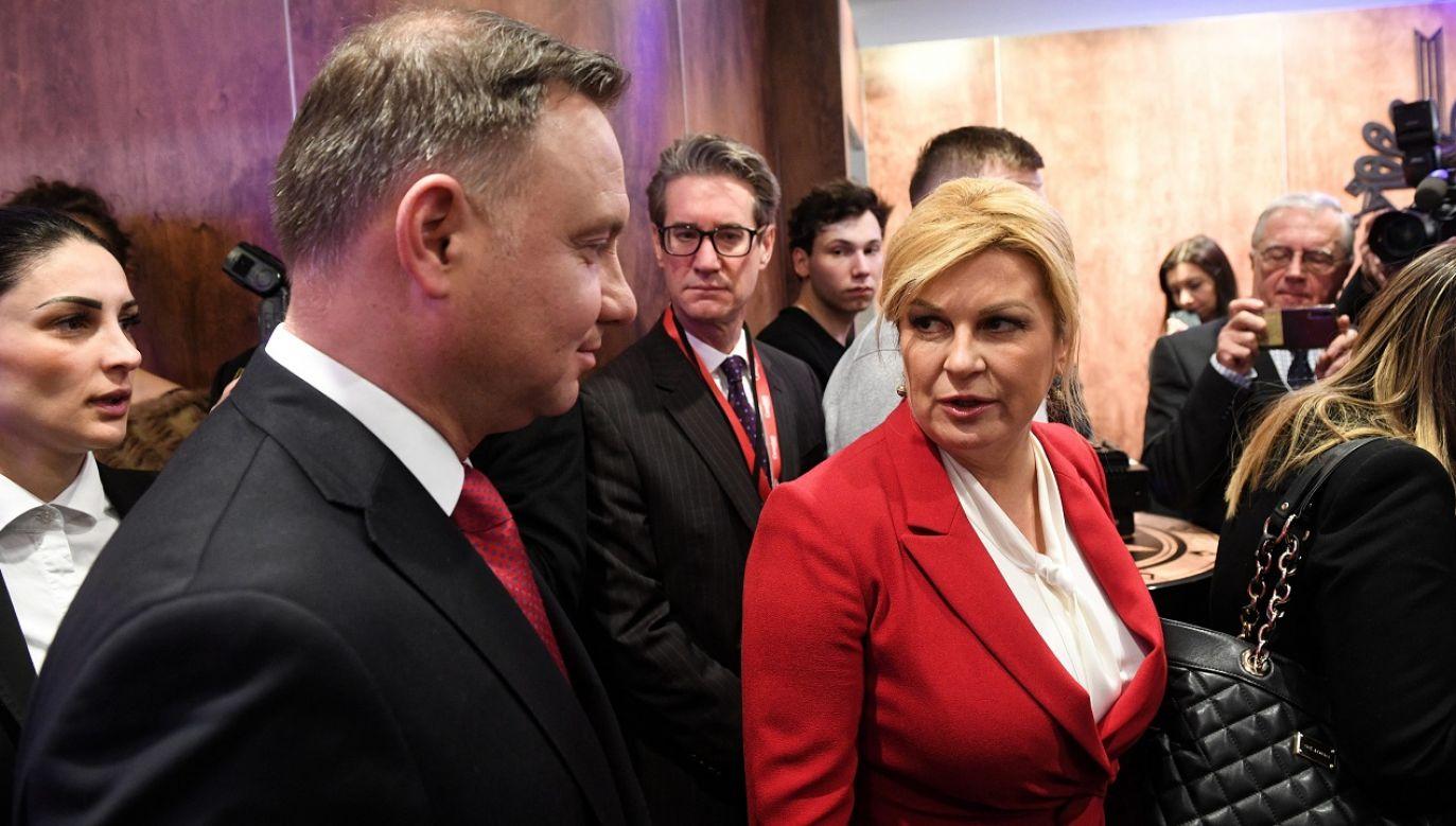 Prezydent Andrzej Duda oraz prezydent Chorwacji Kolinda Grabar-Kitarović przed rozpoczęciem debaty na forum w Davos (fot. PAP/Radek Pietruszka)