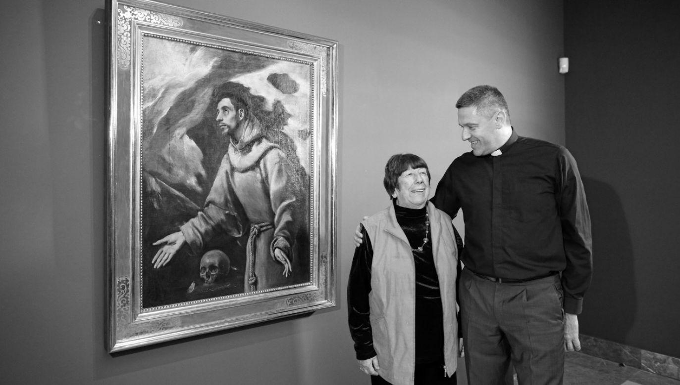 Odkrywczyni obrazu, dr Izabella Galicka i dyrektor Muzeum Diecezjalnego w Siedlcach ks. Robert Mirończuk (fot. arch.PAP/Stanisław Rozpędzik)