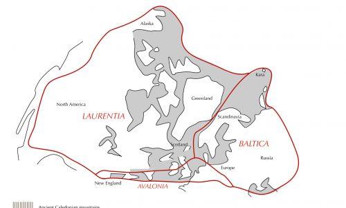 Laurosja (t. Euroameryka, Laureuropa, kontynent oldredowy, ang. Old Red Sandstone Continent, Laurussia) – paleozoiczny superkontynent, powstały w końcu syluru i istniejący aż do karbonu. Utworzył się w wyniku kolizji Laurencji i Bałtyki. Kolizja spowodowała zamknięcie się oceanu Japetus. W miejscu kolizji powstały kaledonidy. Fot. Wikimedia Commons/ Thomas ROBERT, CC BY-SA 3.0