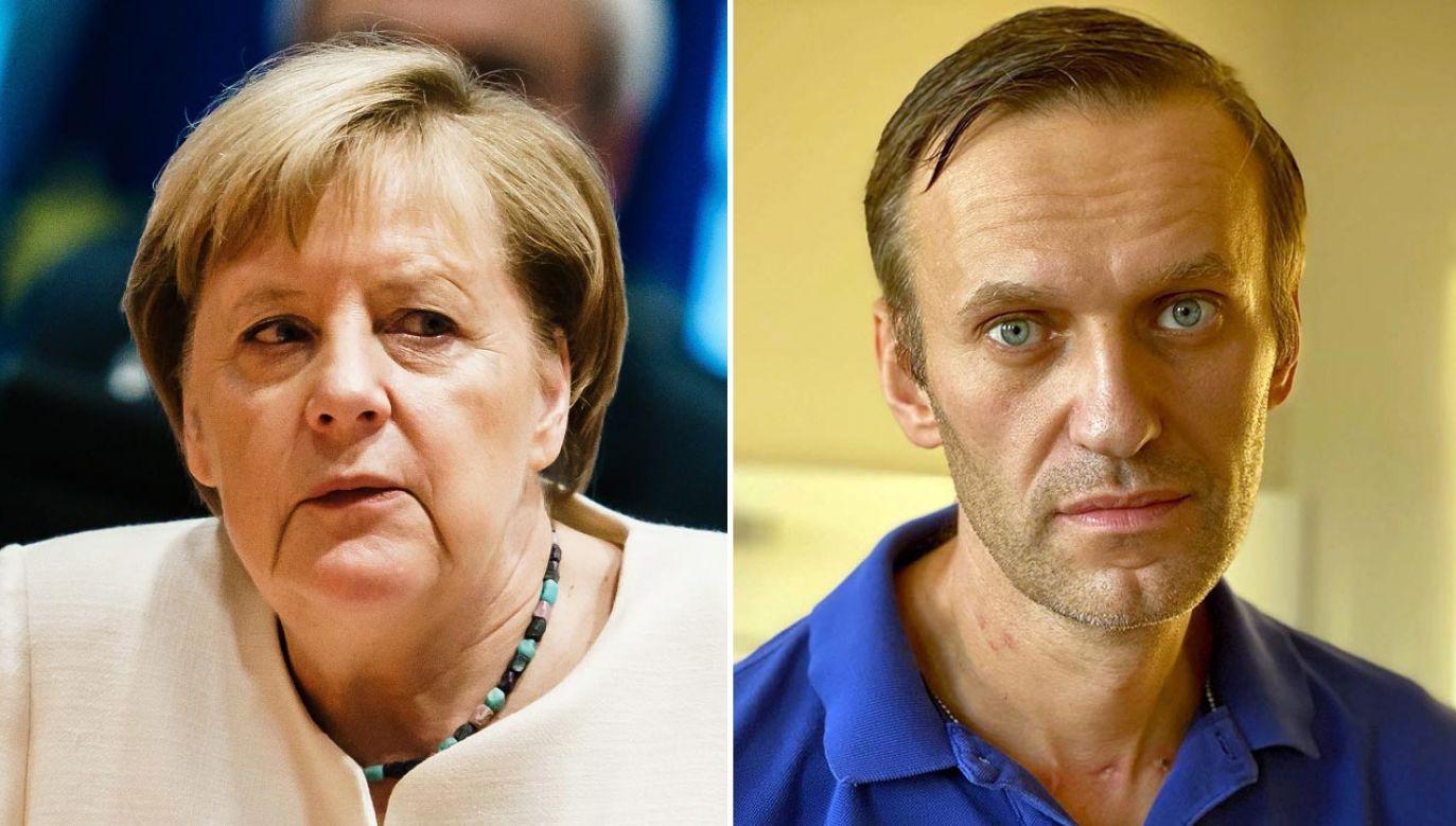 Kanclerz Niemiec poważnie traktuje sprawę tego zamachu (fot. PAP/EPA/CLEMENS BILAN / POOL; PAP/EPA/ALEXEI NAVALNY HANDOUT)