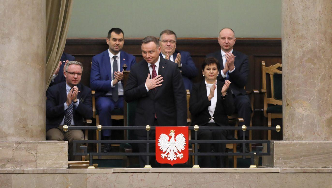 Prezydent wysłuchał exposé premiera Mateusza Morawieckiego (fot. PAP/Paweł Supernak)